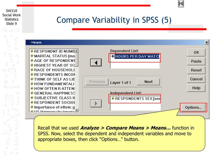 Compare Variability in SPSS (5)