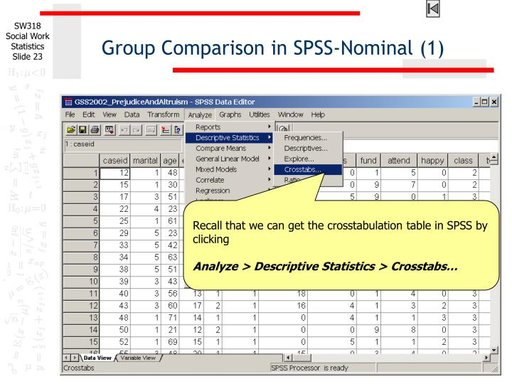 Group Comparison in SPSS-Nominal (1)