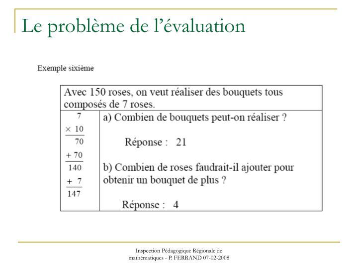 Le problème de l'évaluation