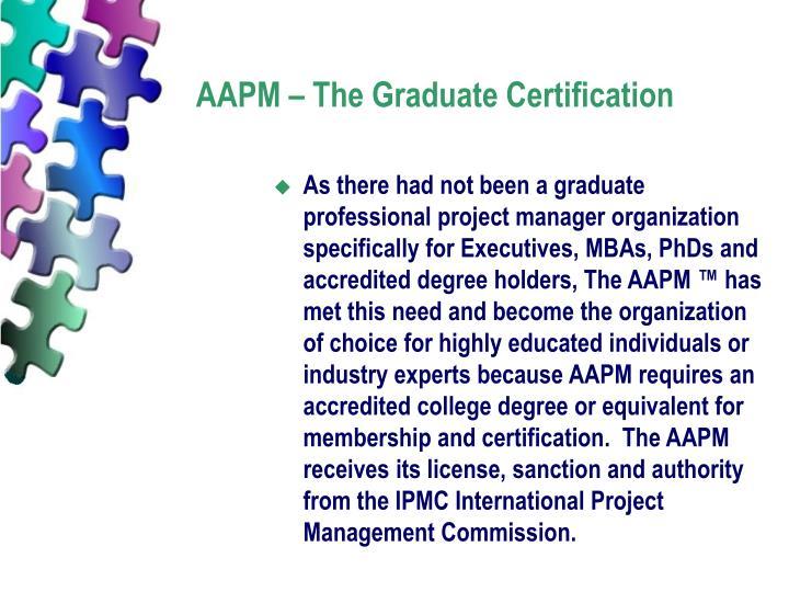 AAPM – The Graduate Certification
