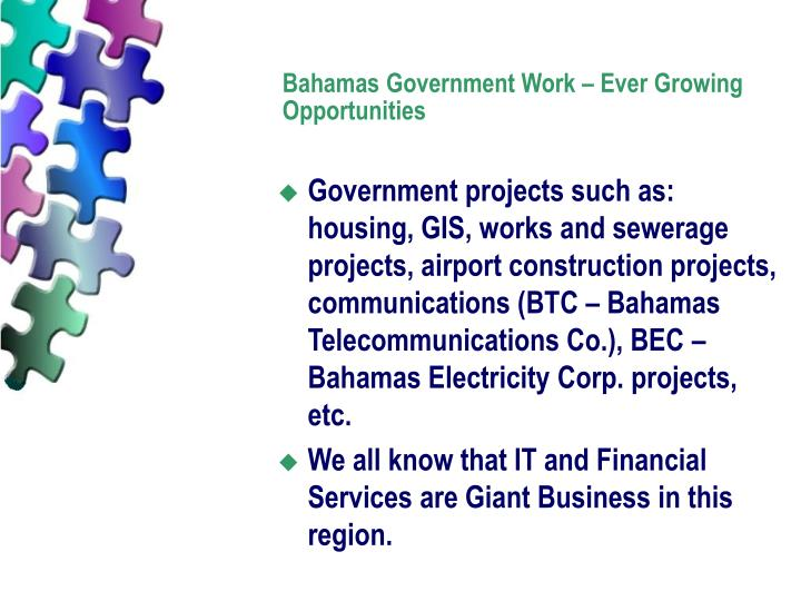 Bahamas Government Work – Ever Growing Opportunities