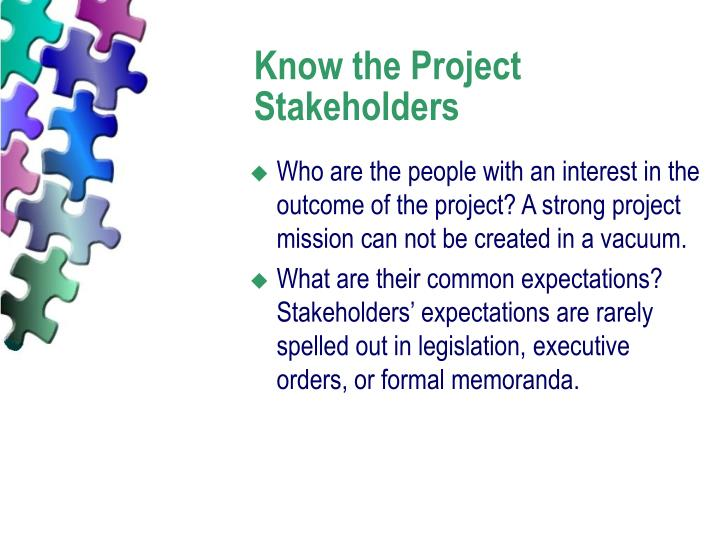 Know the Project Stakeholders