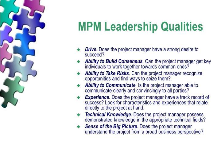 MPM Leadership Qualities
