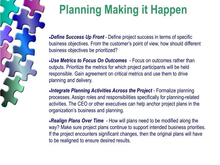 Planning Making it Happen