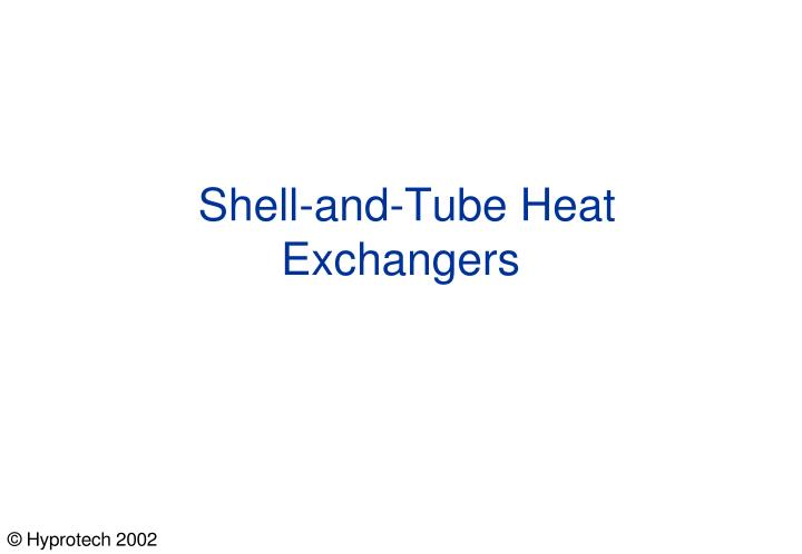 shell and tube heat exchangers n.