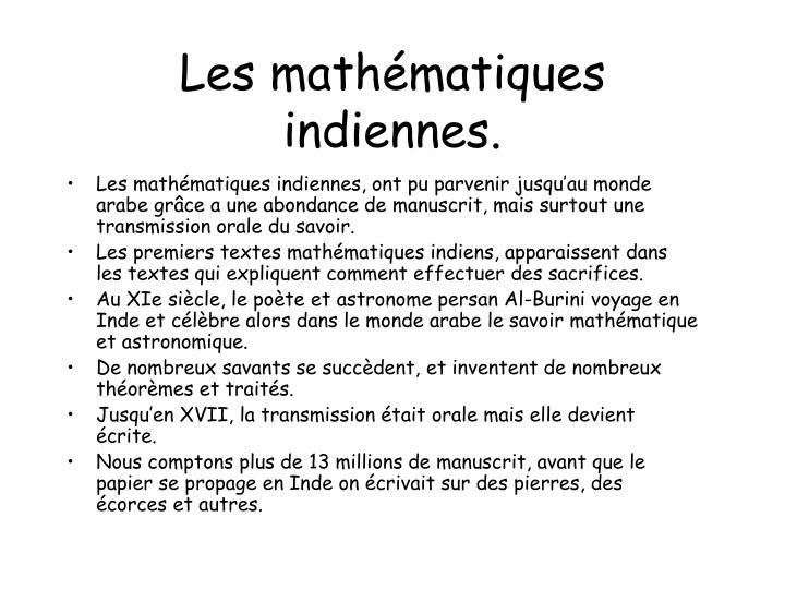 Les math matiques indiennes