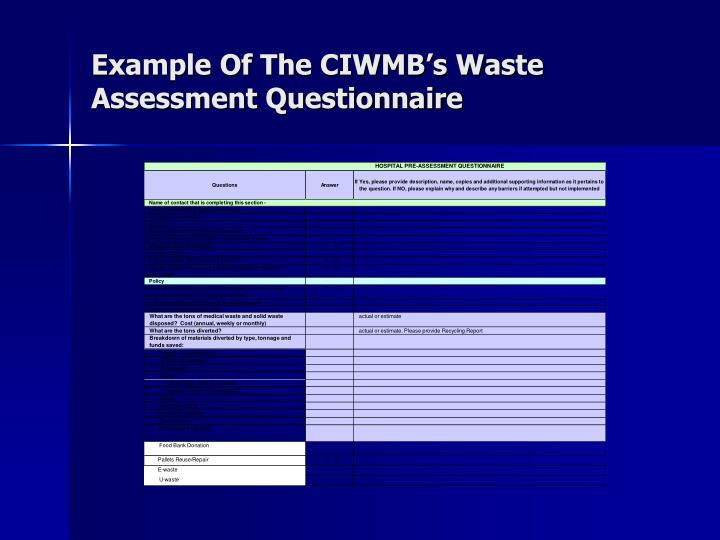 Example Of The CIWMB's Waste Assessment Questionnaire