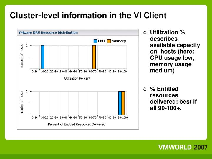 Cluster-level information in the VI Client