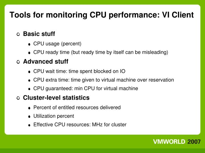 Tools for monitoring CPU performance: VI Client