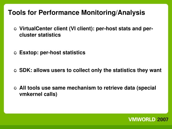 Tools for performance monitoring analysis