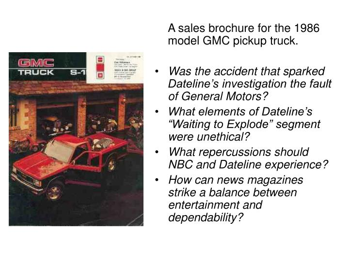 A sales brochure for the 1986 model GMC pickup truck.