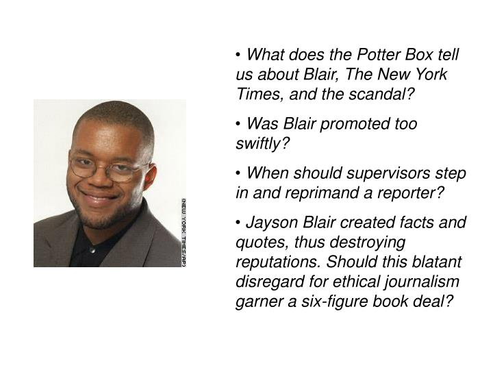 What does the Potter Box tell us about Blair, The New York Times, and the scandal?
