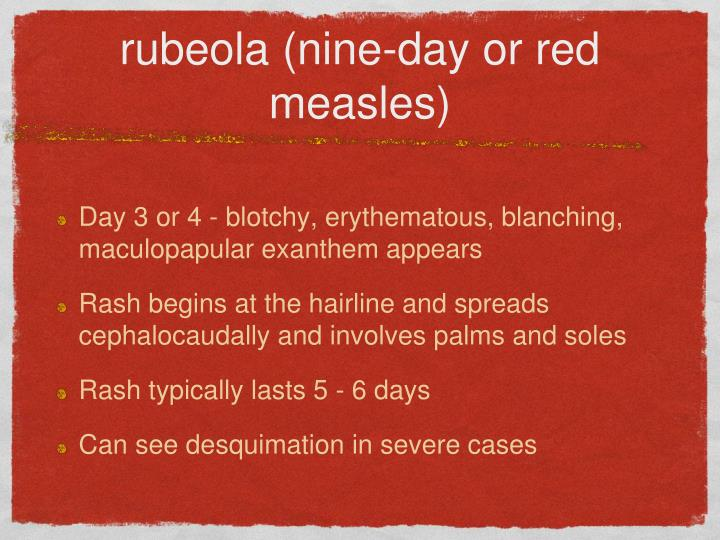 Rubeola nine day or red measles1