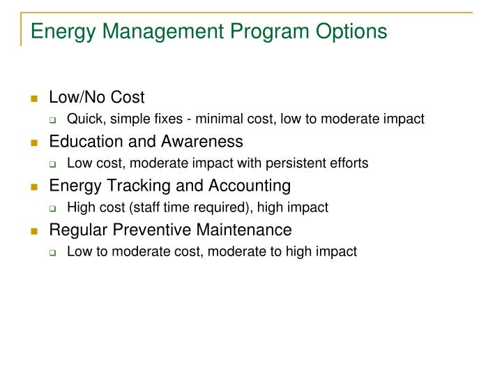Energy Management Program Options