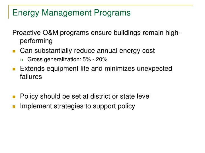 Energy Management Programs
