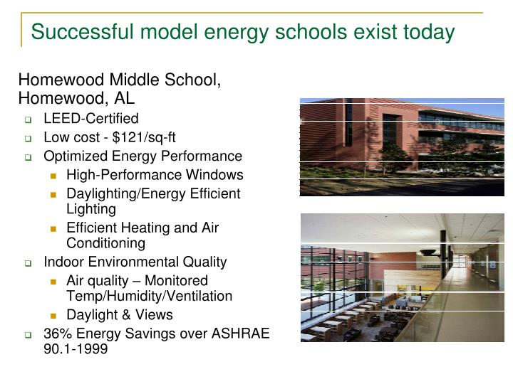 Successful model energy schools exist today