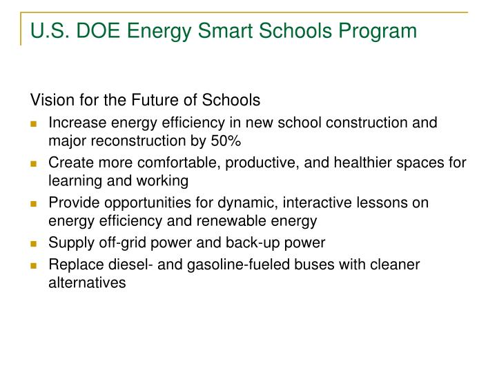 U.S. DOE Energy Smart Schools Program