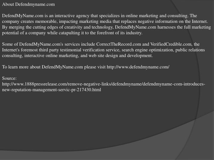 About Defendmyname.com