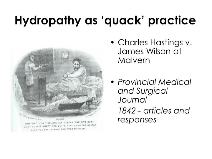 Hydropathy as 'quack' practice