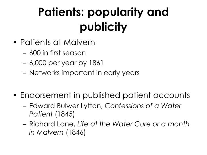 Patients: popularity and publicity