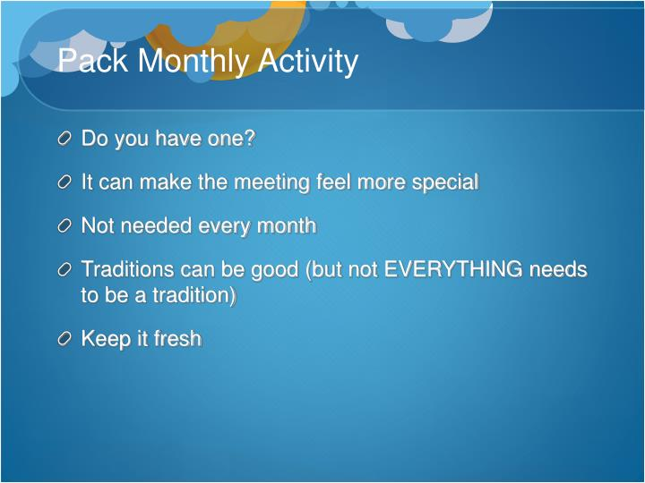 Pack Monthly Activity