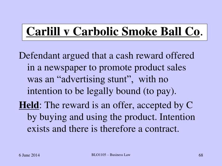 carlill v carbolic smoke ball co 1893 summary
