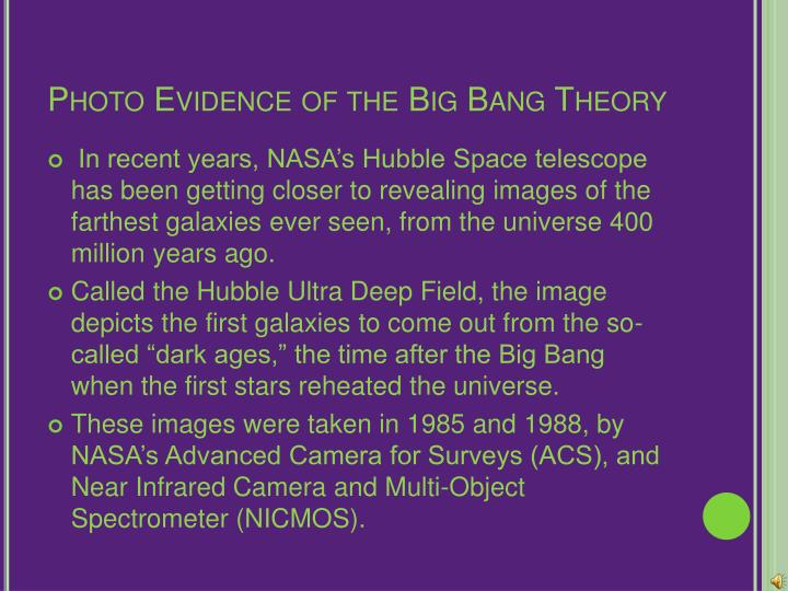 evidence for the big bang essay Capturing the afterglow of the big bang how starlight differs from microwaves we can peer back in time from speeding galaxies to ancient gas clouds, there is evidence that we can detect today - the if the big bang did happen, then we'd expect those distant views to reveal clouds of gas which.