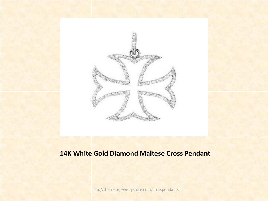 14K White Gold Diamond Maltese Cross Pendant