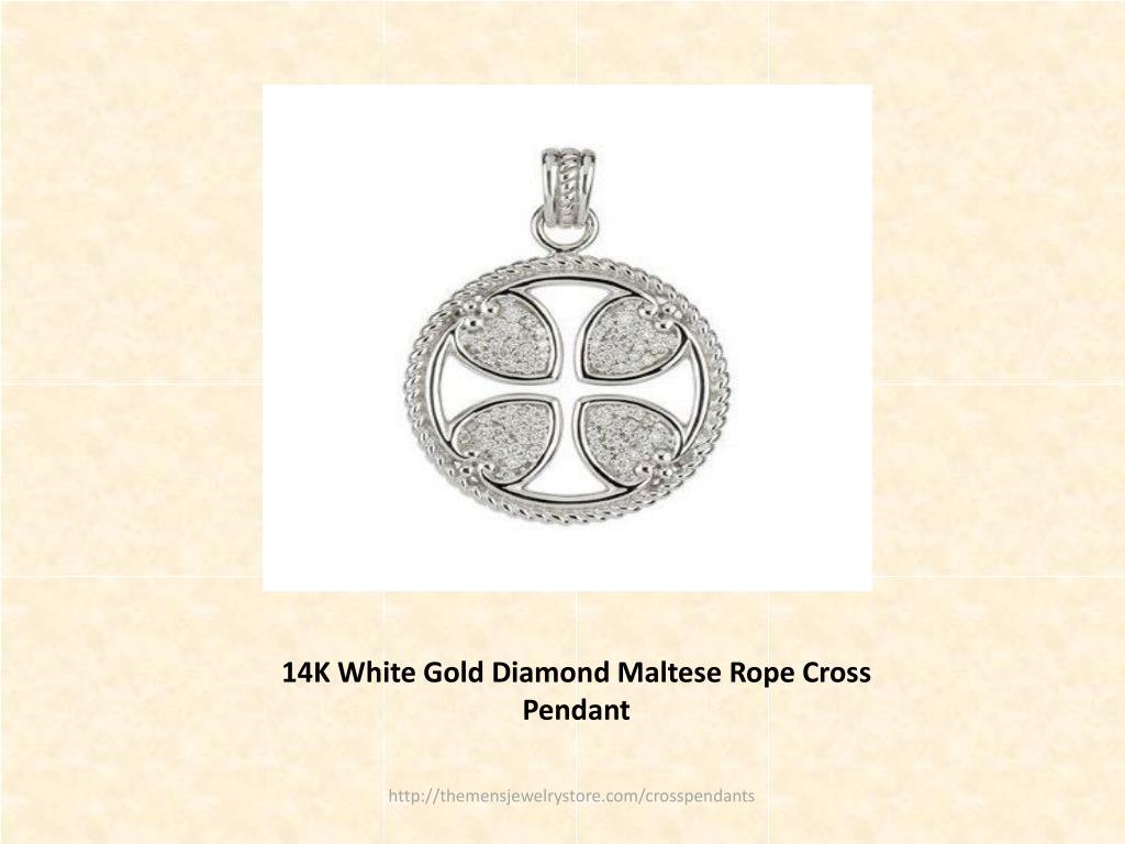 14K White Gold Diamond Maltese Rope Cross Pendant