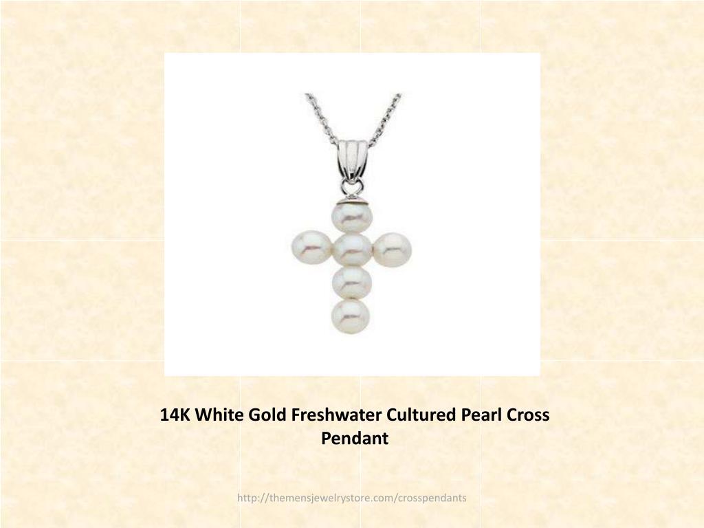 14K White Gold Freshwater Cultured Pearl Cross Pendant