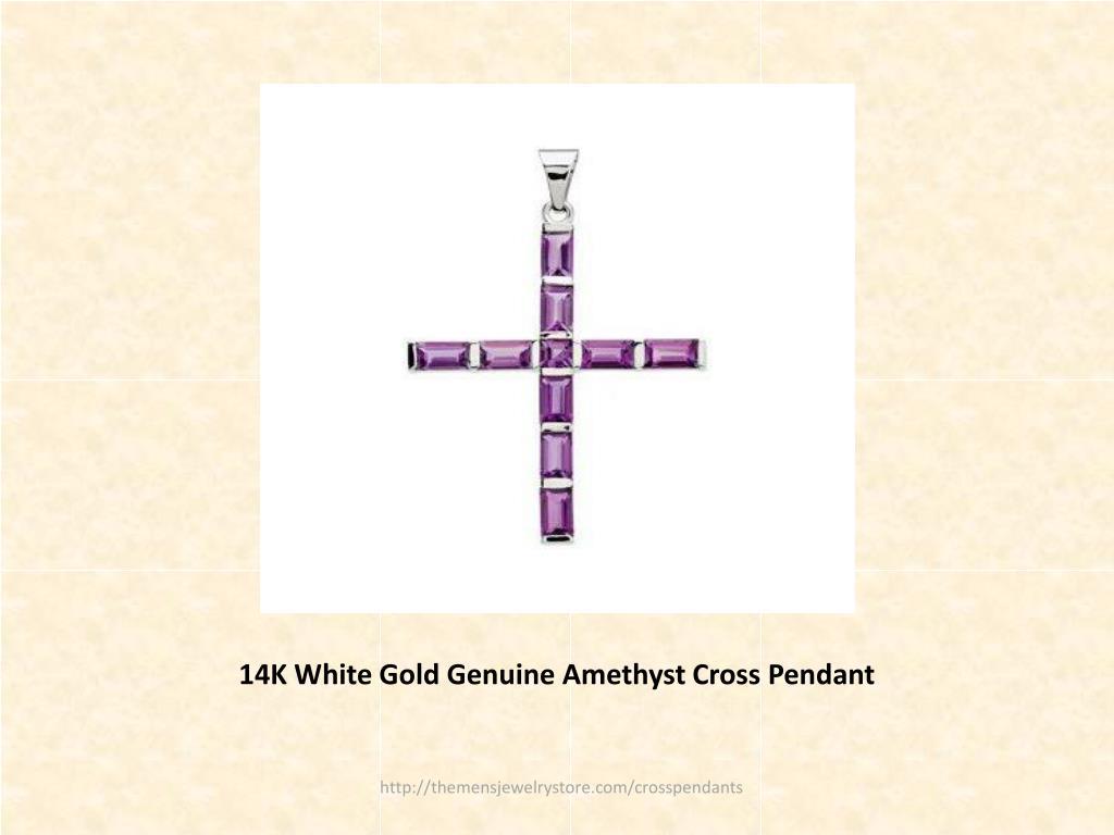 14K White Gold Genuine Amethyst Cross Pendant