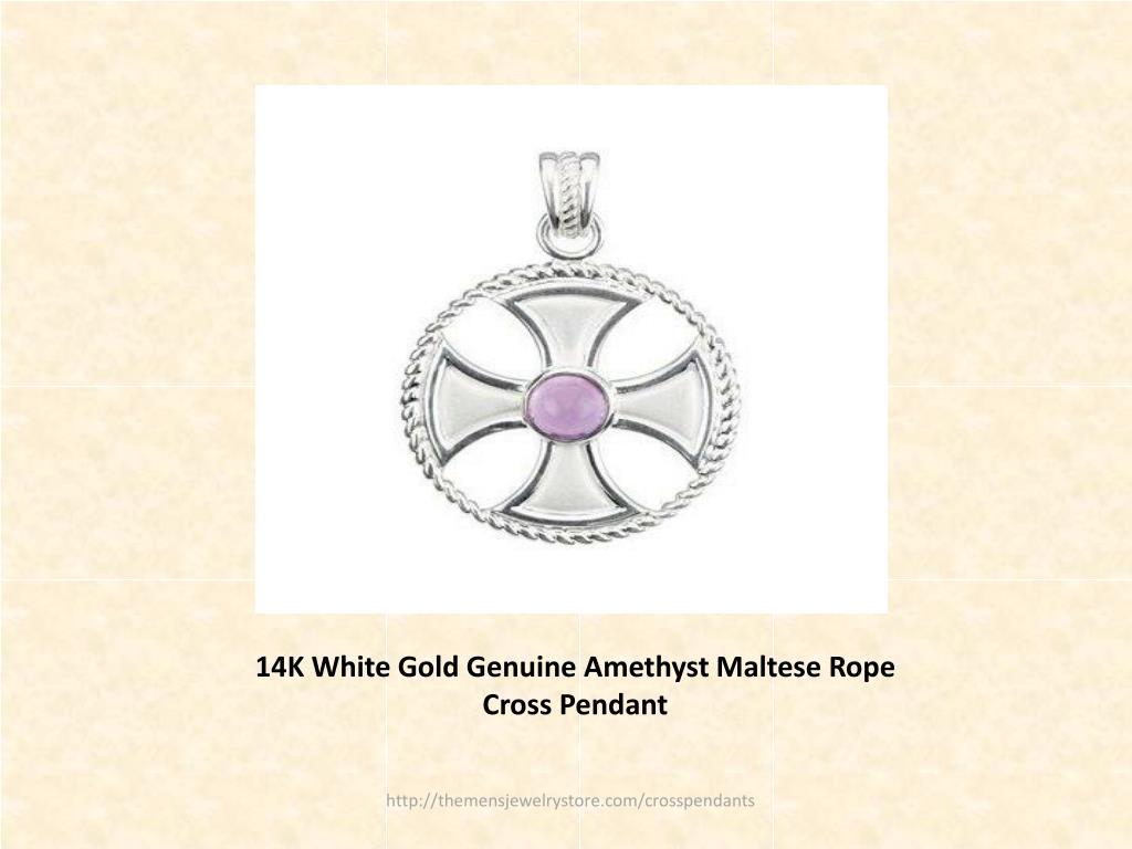 14K White Gold Genuine Amethyst Maltese Rope Cross Pendant
