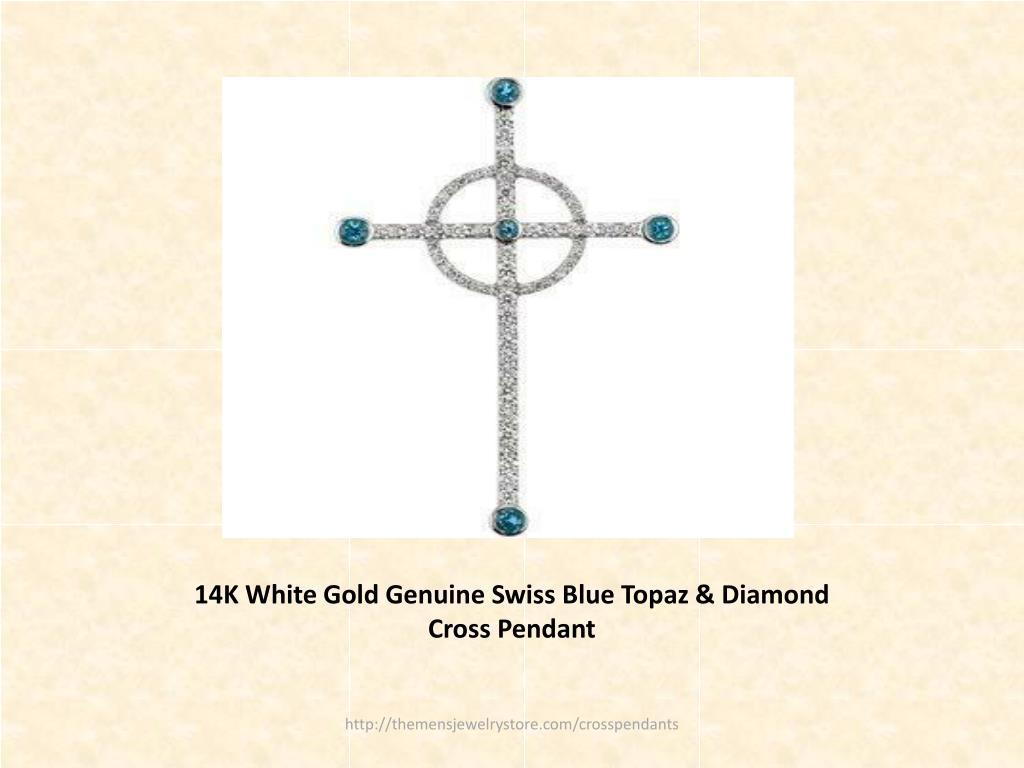 14K White Gold Genuine Swiss Blue Topaz & Diamond Cross Pendant