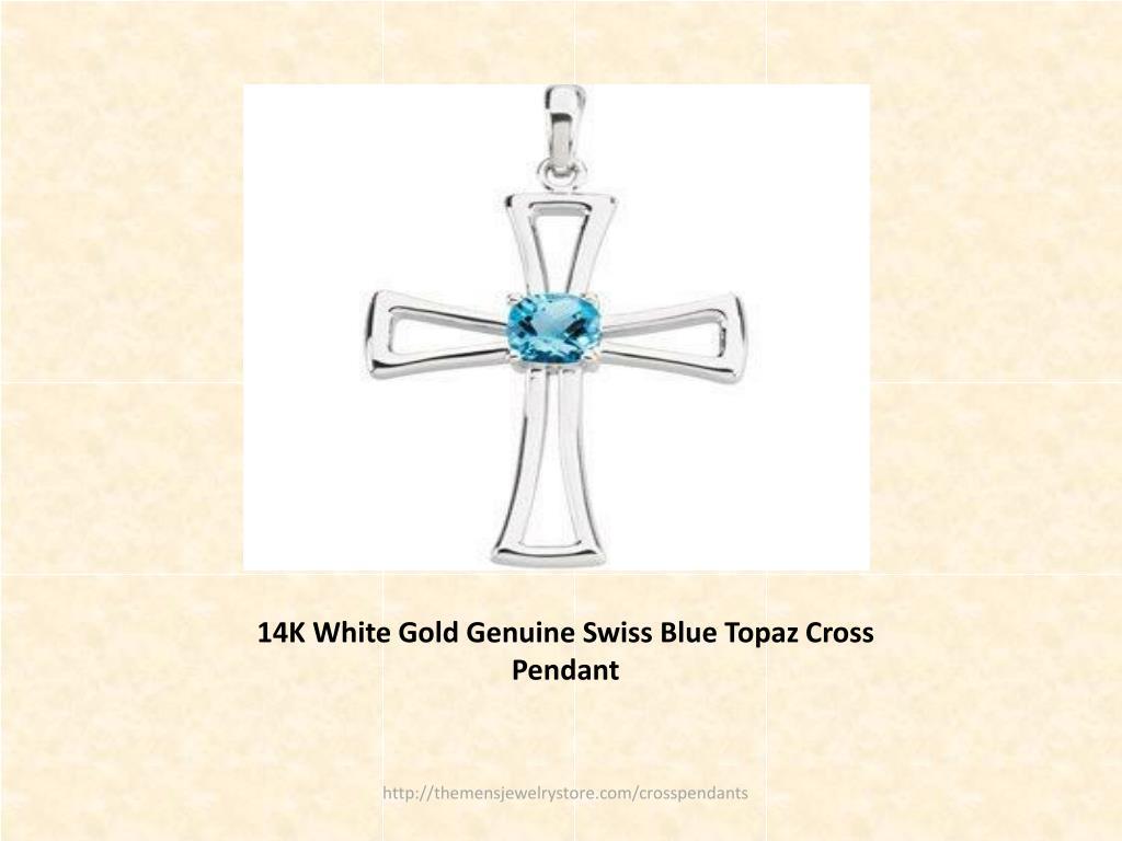 14K White Gold Genuine Swiss Blue Topaz Cross Pendant