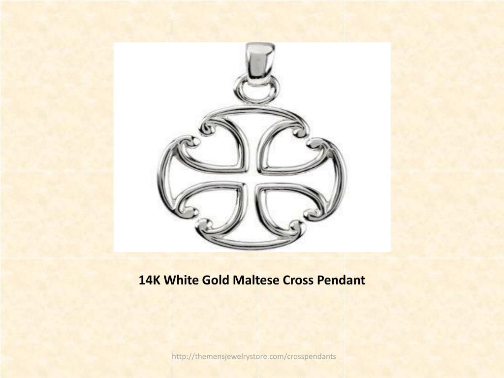 14K White Gold Maltese Cross Pendant