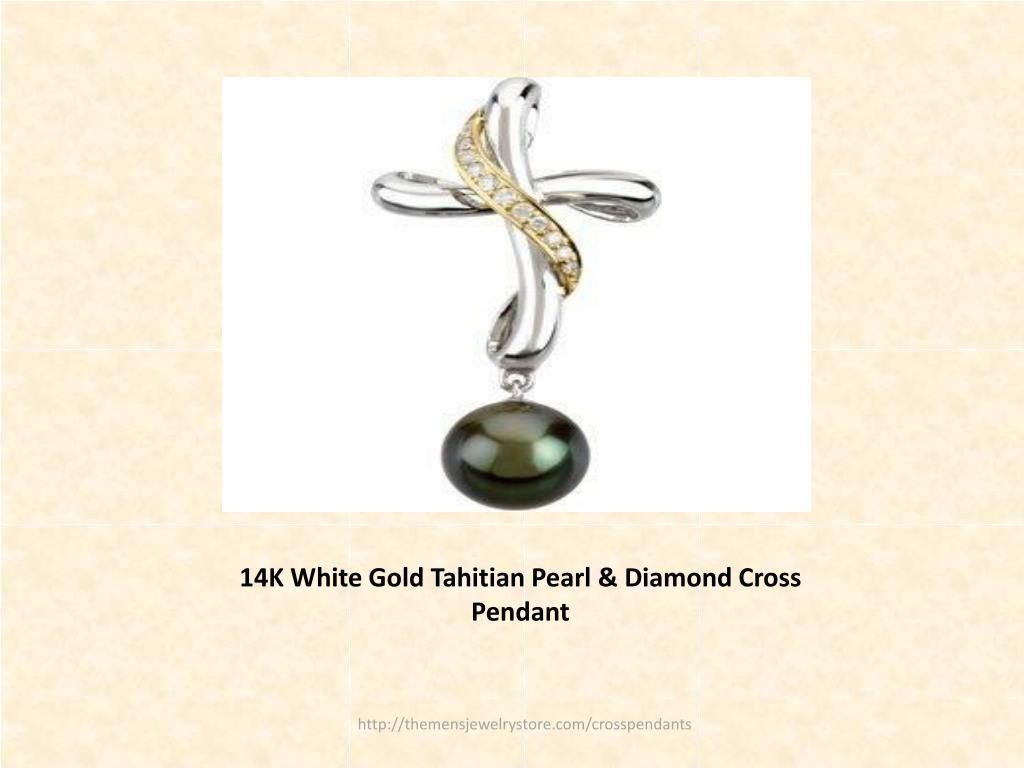 14K White Gold Tahitian Pearl & Diamond Cross Pendant