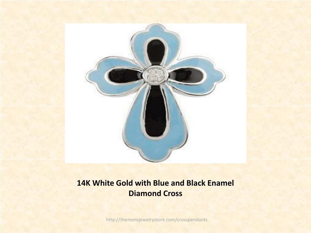 14K White Gold with Blue and Black Enamel Diamond Cross