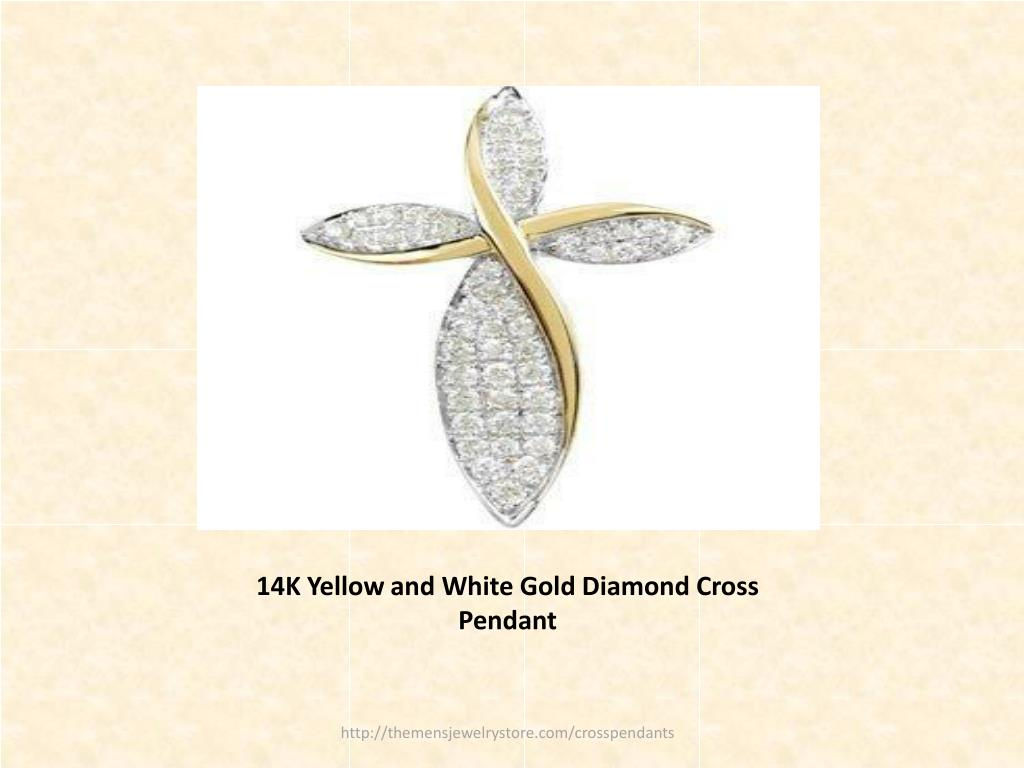 14K Yellow and White Gold Diamond Cross Pendant