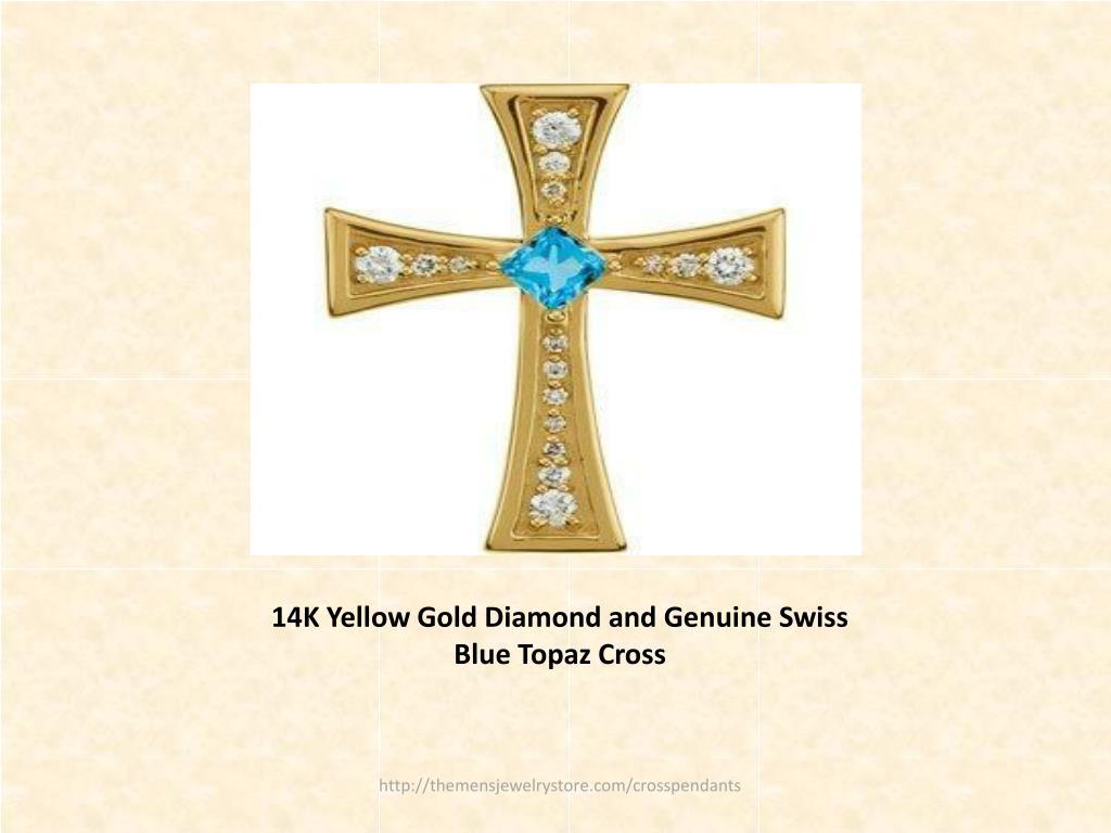 14K Yellow Gold Diamond and Genuine Swiss Blue Topaz Cross