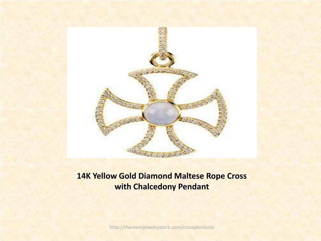 14K Yellow Gold Diamond Maltese Rope Cross with Chalcedony Pendant
