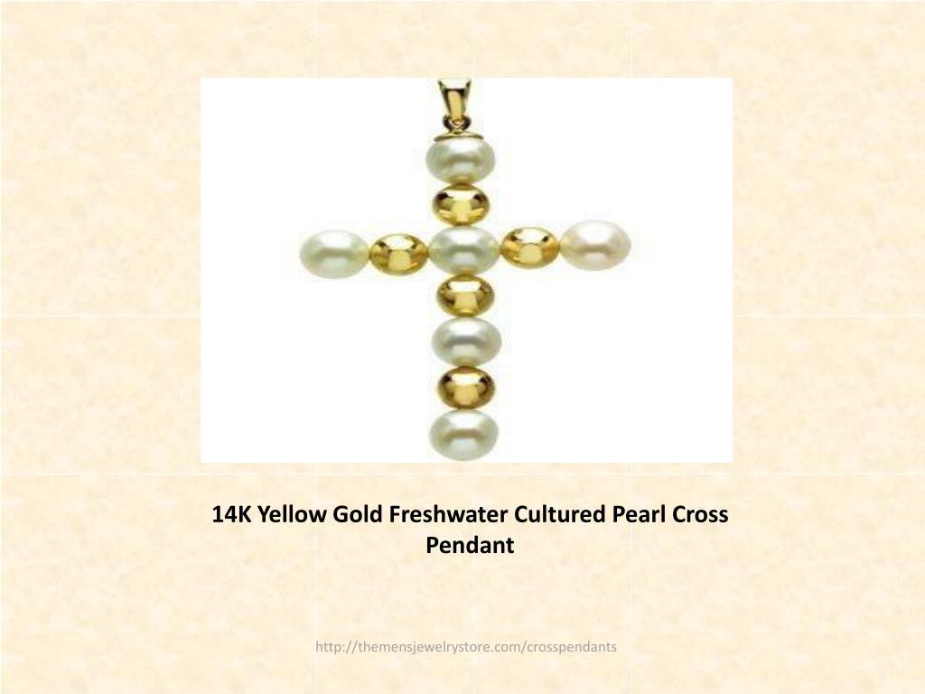 14K Yellow Gold Freshwater Cultured Pearl Cross Pendant