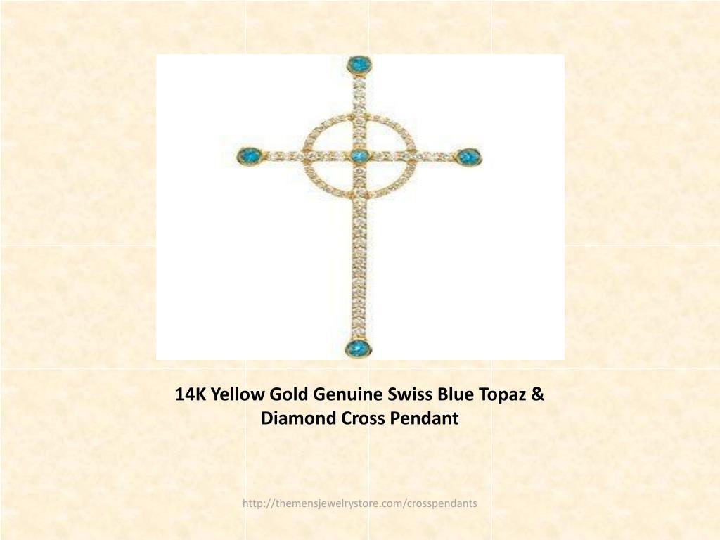 14K Yellow Gold Genuine Swiss Blue Topaz & Diamond Cross Pendant