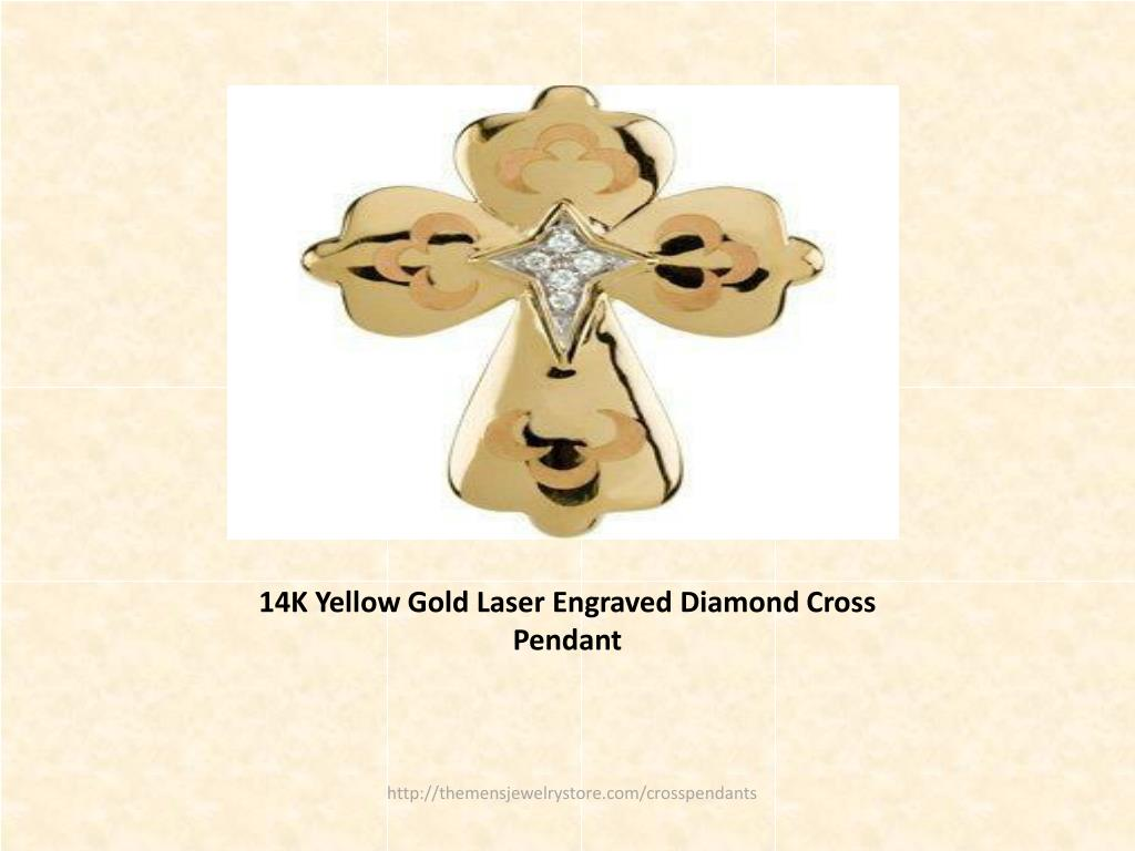 14K Yellow Gold Laser Engraved Diamond Cross Pendant