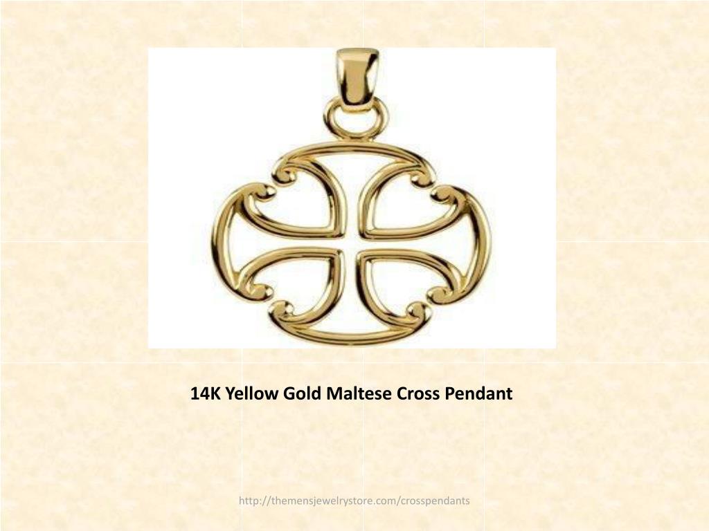 14K Yellow Gold Maltese Cross Pendant