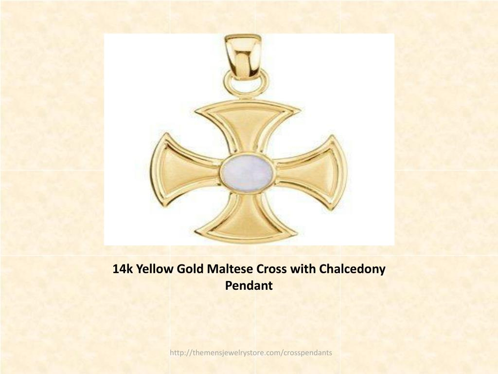 14k Yellow Gold Maltese Cross with Chalcedony Pendant