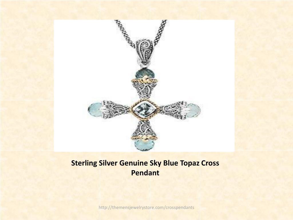 Sterling Silver Genuine Sky Blue Topaz Cross Pendant