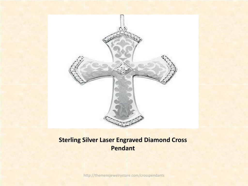 Sterling Silver Laser Engraved Diamond Cross Pendant