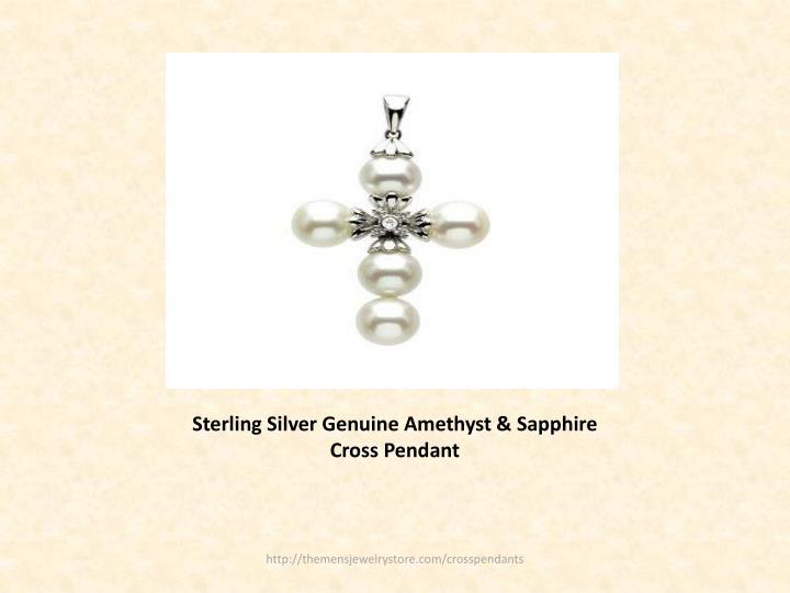 Sterling silver genuine amethyst sapphire cross pendant