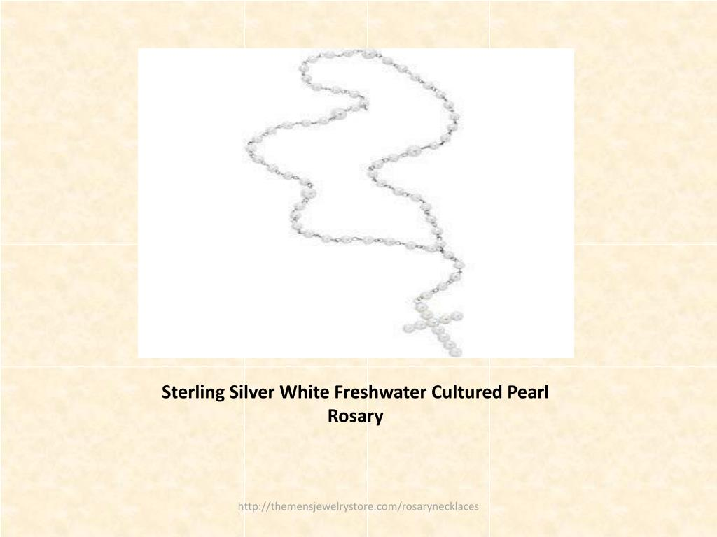 Sterling Silver White Freshwater Cultured Pearl Rosary
