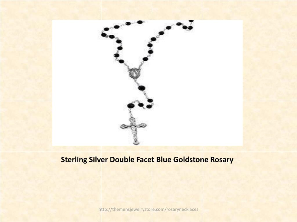 Sterling Silver Double Facet Blue Goldstone Rosary